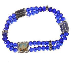Bracciale elastico vero Cristallo 6 mm Blu s3