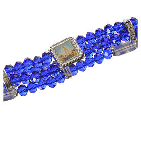 Bracciale elastico vero Cristallo 6 mm Blu s2