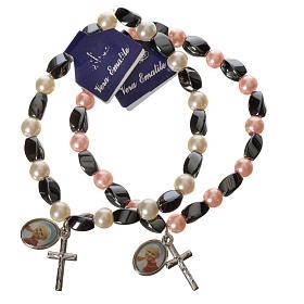 Bracelets divers: Bracelet élastique hématite Jean-Paul II 6x9 mm