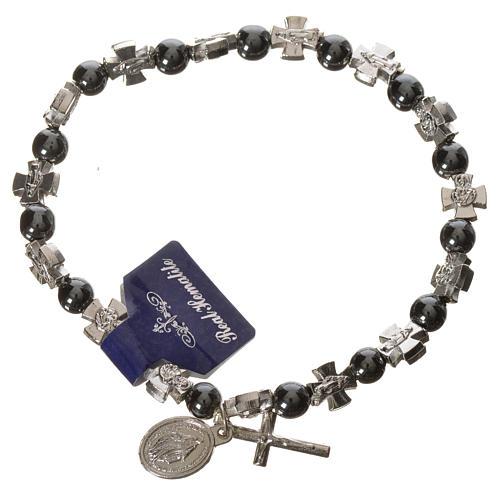 Elastic bracelet with hematite beads 1