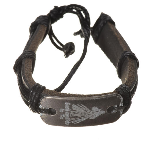 Bracelet in fake leather, Merciful Jesus 1