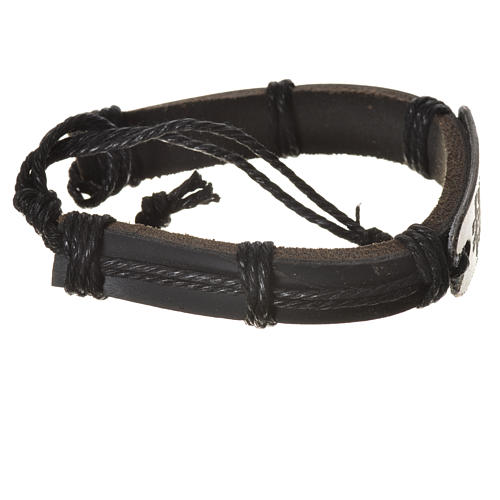 Bracelet in fake leather, Merciful Jesus 2