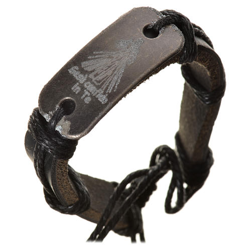 Bracelet in fake leather, Merciful Jesus 3