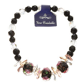 Elastic bracelet in crystal with Trinity, black s1