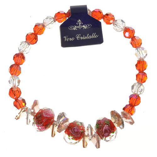 Elastic bracelet in crystal with Trinity, red 1