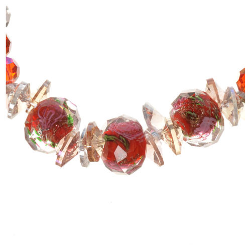 Elastic bracelet in crystal with Trinity, red 2