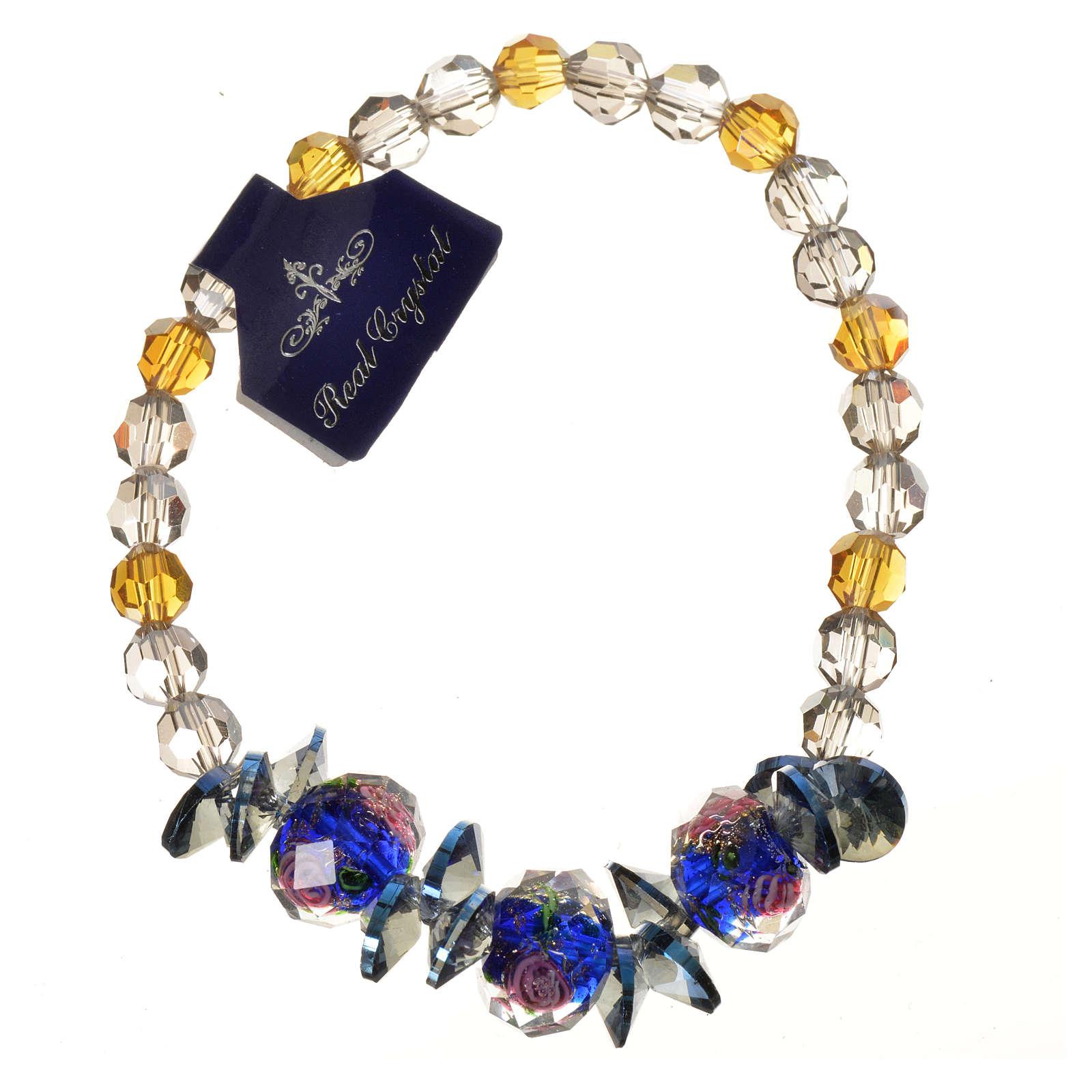 Bracelet Trinité élastique Cristal bleu 4