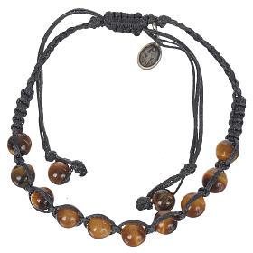 Bracelet Oeil de Tigre Méd. Miraculeuse Arg 925 cordon bleu s1