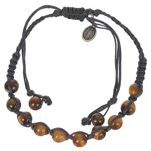 Bracelet Oeil de Tigre Méd. Miraculeuse Arg 925 cordon bleu 1