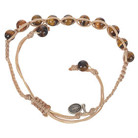 Bracelet in Tiger's eye with Miraculous Medal in silver with cord s2