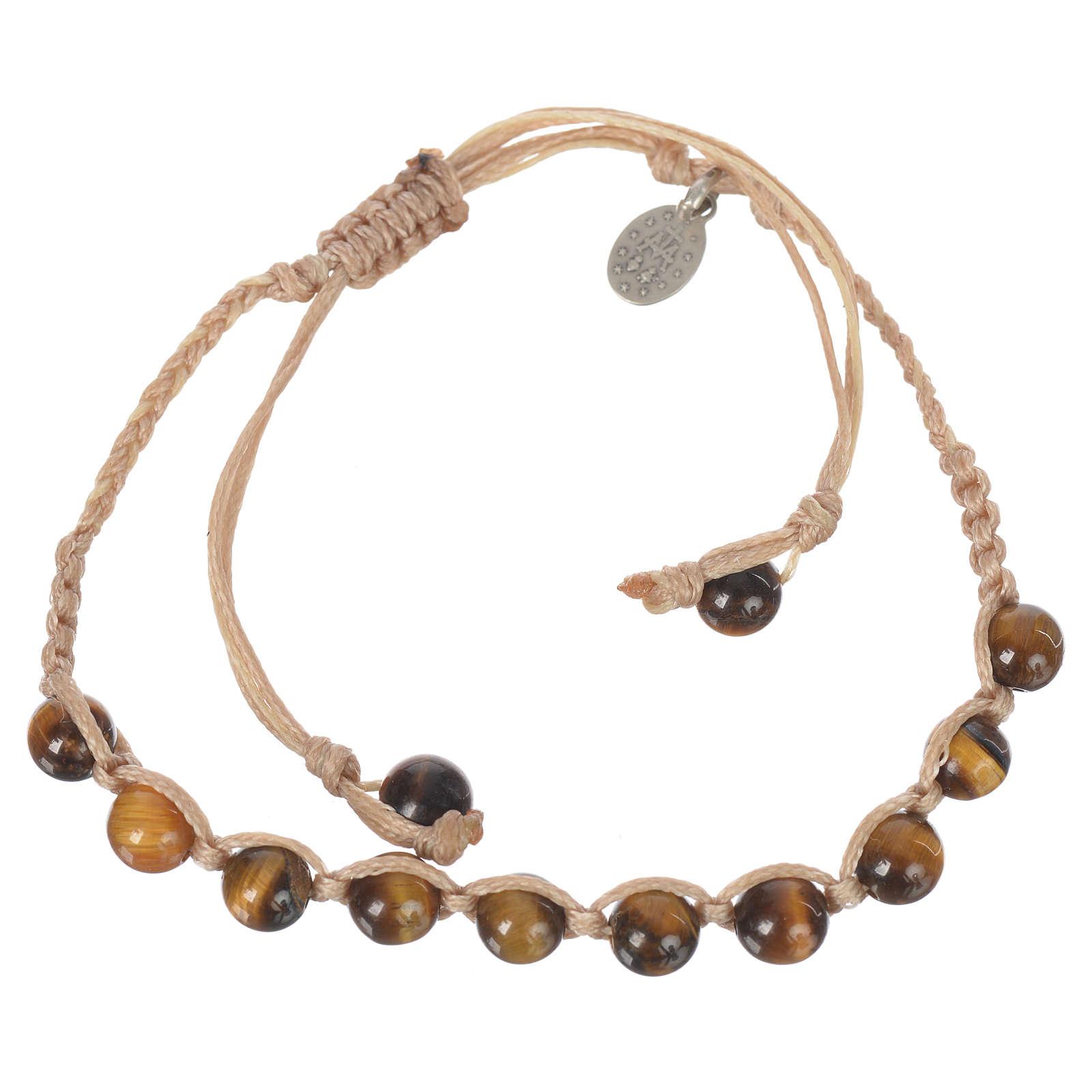 Bracelet Oeil de Tigre Méd. Miraculeuse Arg 925 cordon sable 4