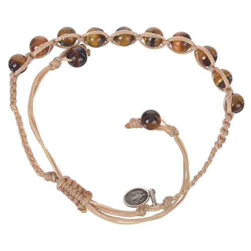 Bracelet Oeil de Tigre Méd. Miraculeuse Arg 925 cordon sable 2