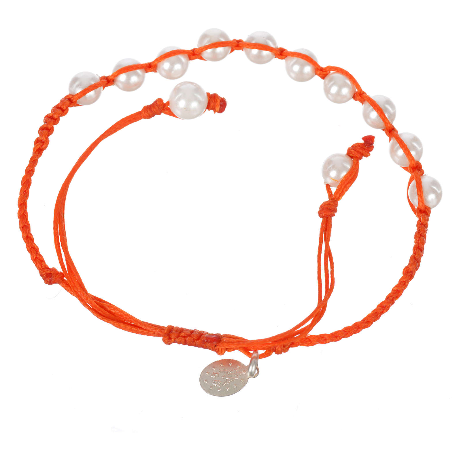 Bracelet in pearl with Miraculous Medal in silver with orange cord 4