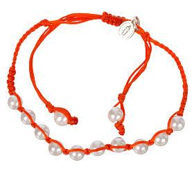 Pulsera perla Banca Medalla Milagrosa Plata 925 cuerda naranja s1