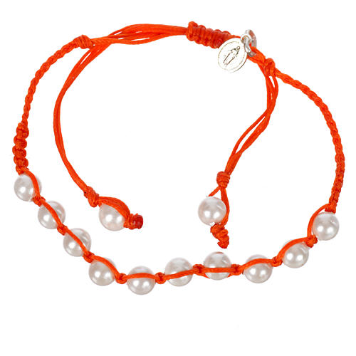 Pulsera perla Banca Medalla Milagrosa Plata 925 cuerda naranja 1
