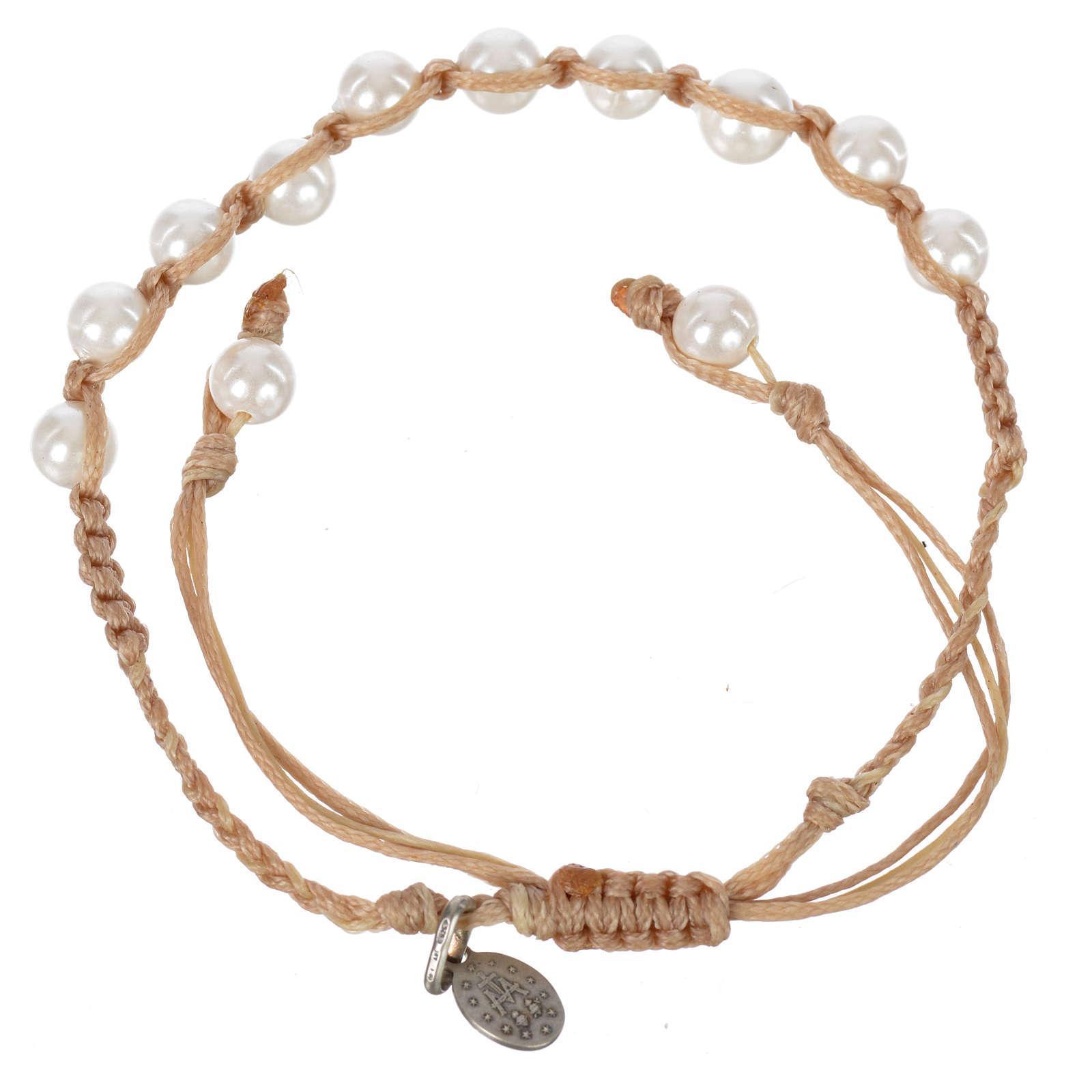 Pulsera Perla Blanca Medalla Virgen Milagrosa Plata 925 cuerda color arena 4