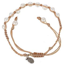 Pulsera Perla Blanca Medalla Virgen Milagrosa Plata 925 cuerda color arena s2