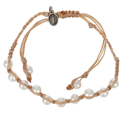 Pulsera Perla Blanca Medalla Virgen Milagrosa Plata 925 cuerda color arena 1
