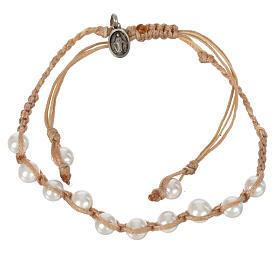 Bracelet Perle Blanche Méd. Miraculeuse Arg 925 cordon sable s1