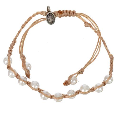 Bracelet Perle Blanche Méd. Miraculeuse Arg 925 cordon sable 1