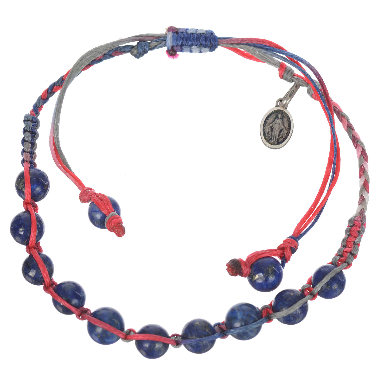 Bracelet in Lapis lazuli with Medal in silver and multicoloured cord 4