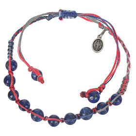 Bracelet in Lapis lazuli with Medal in silver and multicoloured cord s1