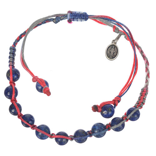 Bracelet in Lapis lazuli with Medal in silver and multicoloured cord 1
