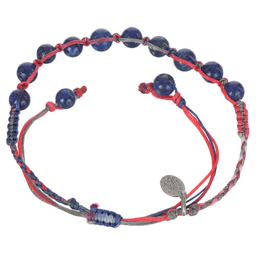 Bracelet in Lapis lazuli with Medal in silver and multicoloured cord 2
