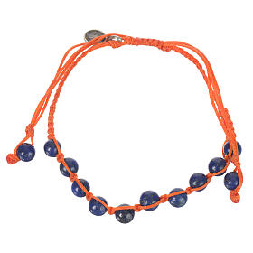 Bracelet in Lapis lazuli with Medal in silver and orange cord s1