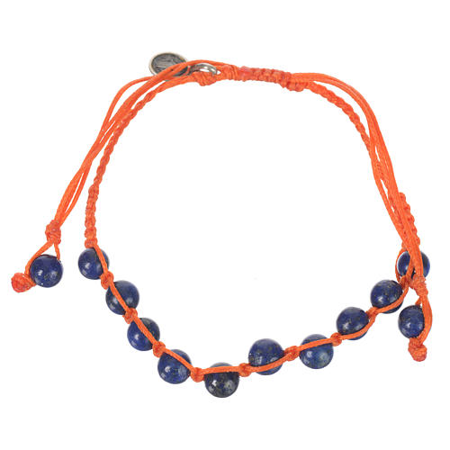 Bracelet in Lapis lazuli with Medal in silver and orange cord 1