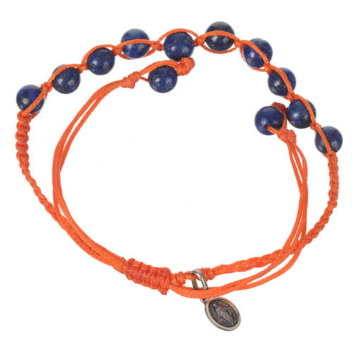 Bracelet in Lapis lazuli with Medal in silver and orange cord 2