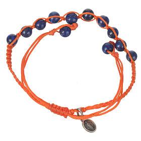 Pulsera Lapislázuli Medalla Milagrosa Plata 925 cuerda naranja s2