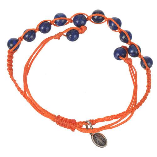Bracelet Lapis-Lazuli Méd. Miraculeuse Arg 925 cordon orange 2