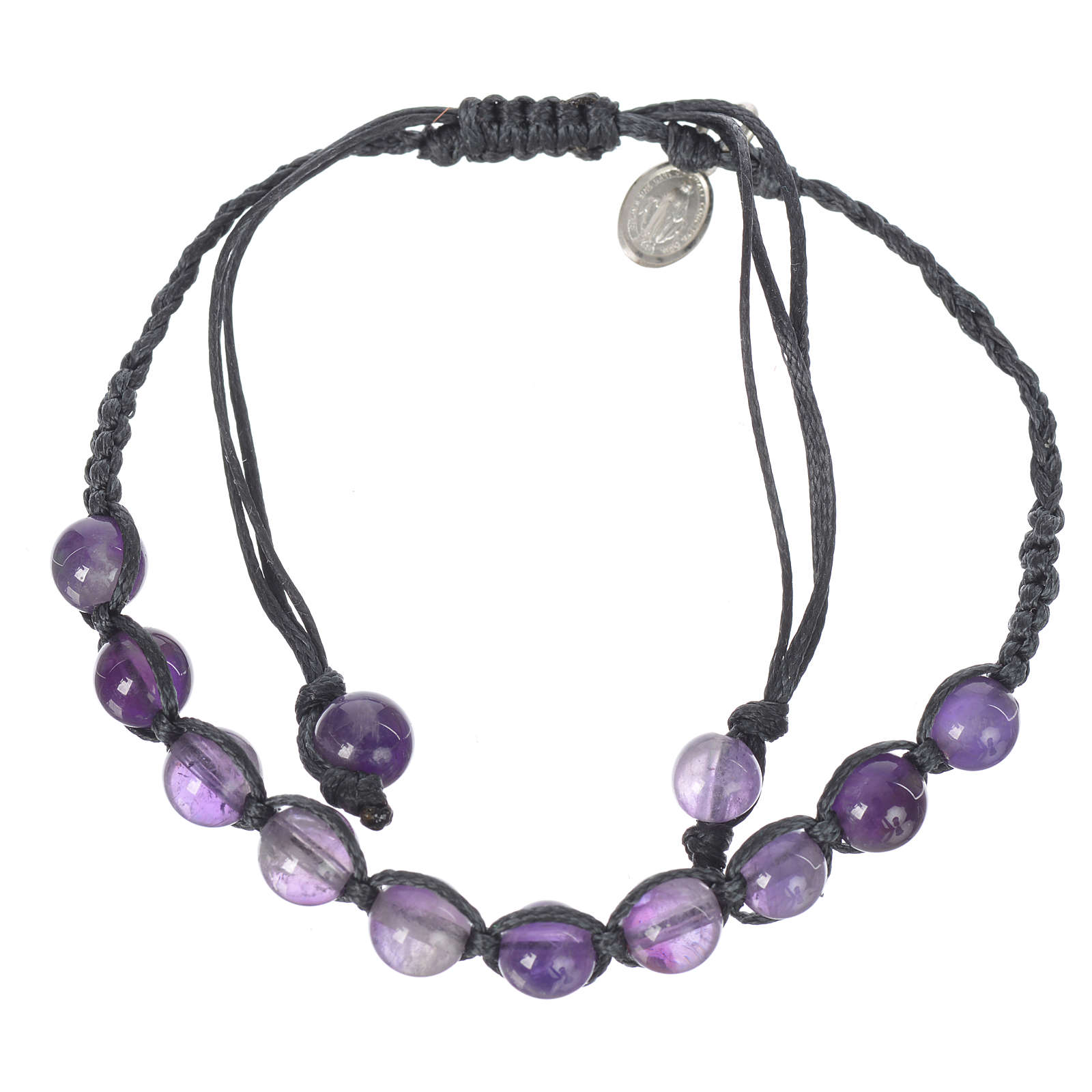 Bracelet in amethyst with Medal in silver and blue cord 4