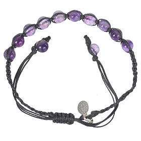 Bracelet in amethyst with Medal in silver and blue cord s2