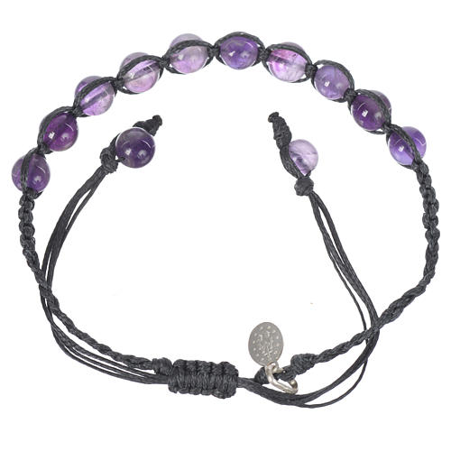 Bracelet in amethyst with Medal in silver and blue cord 2