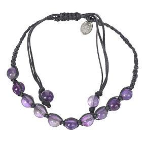 Bracelets divers: Bracelet Améthyste Méd. Miraculeuse Arg 925 cordon bleu