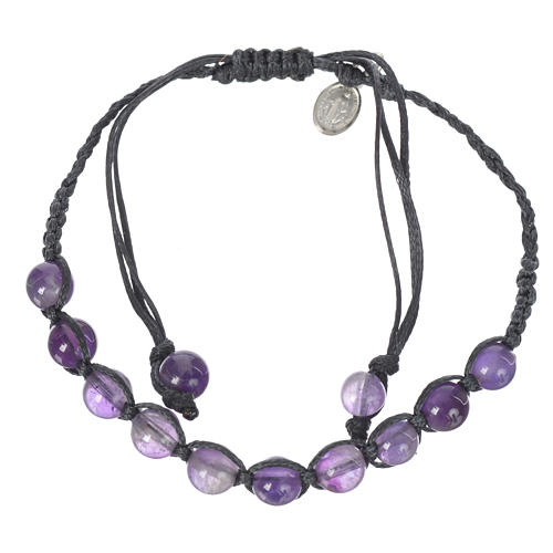 Bracelet in amethyst with Medal in silver and blue cord 1