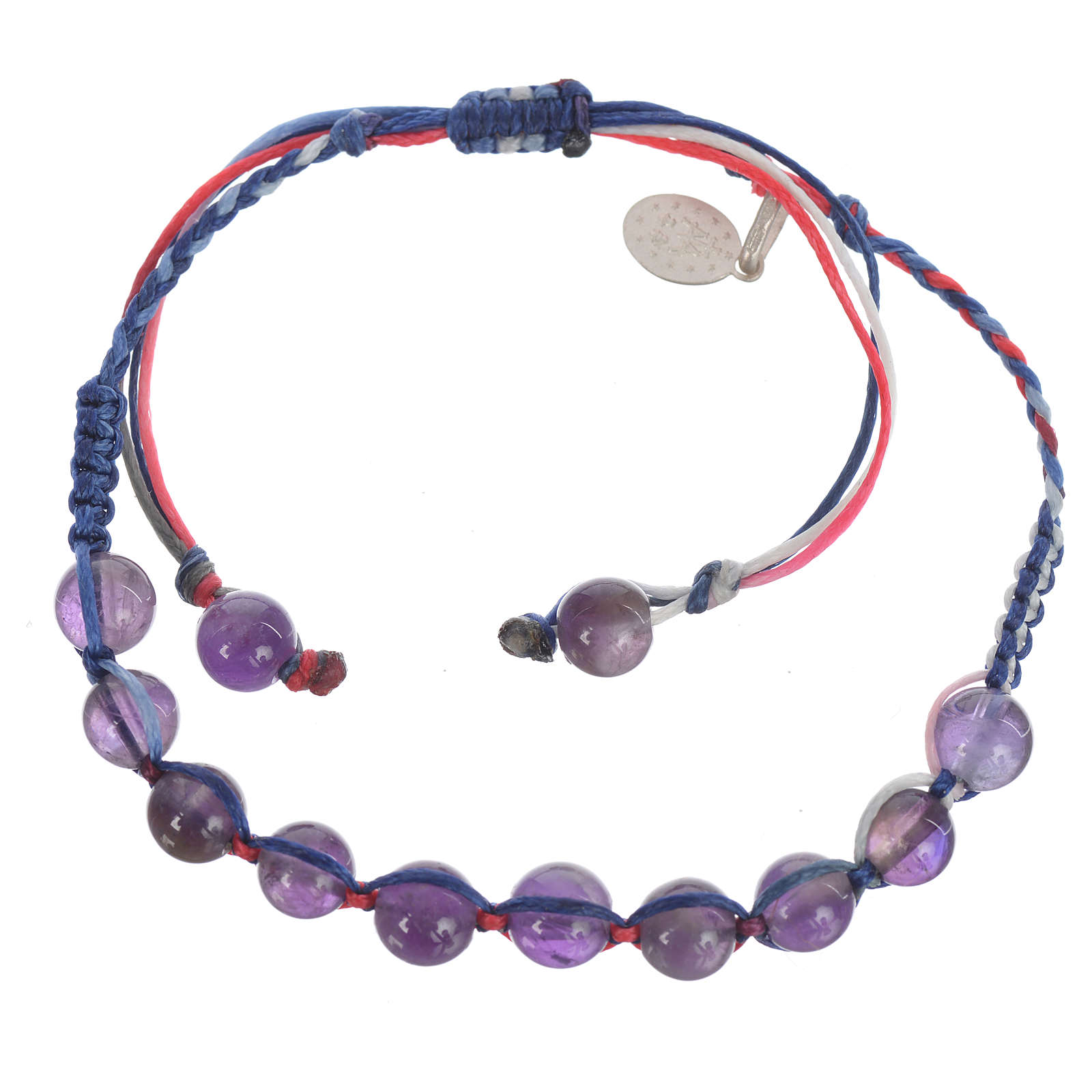 Bracelet in amethyst with Medal in silver and multicoloured cord 4