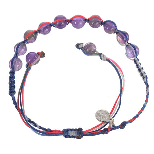 Bracelet in amethyst with Medal in silver and multicoloured cord 2