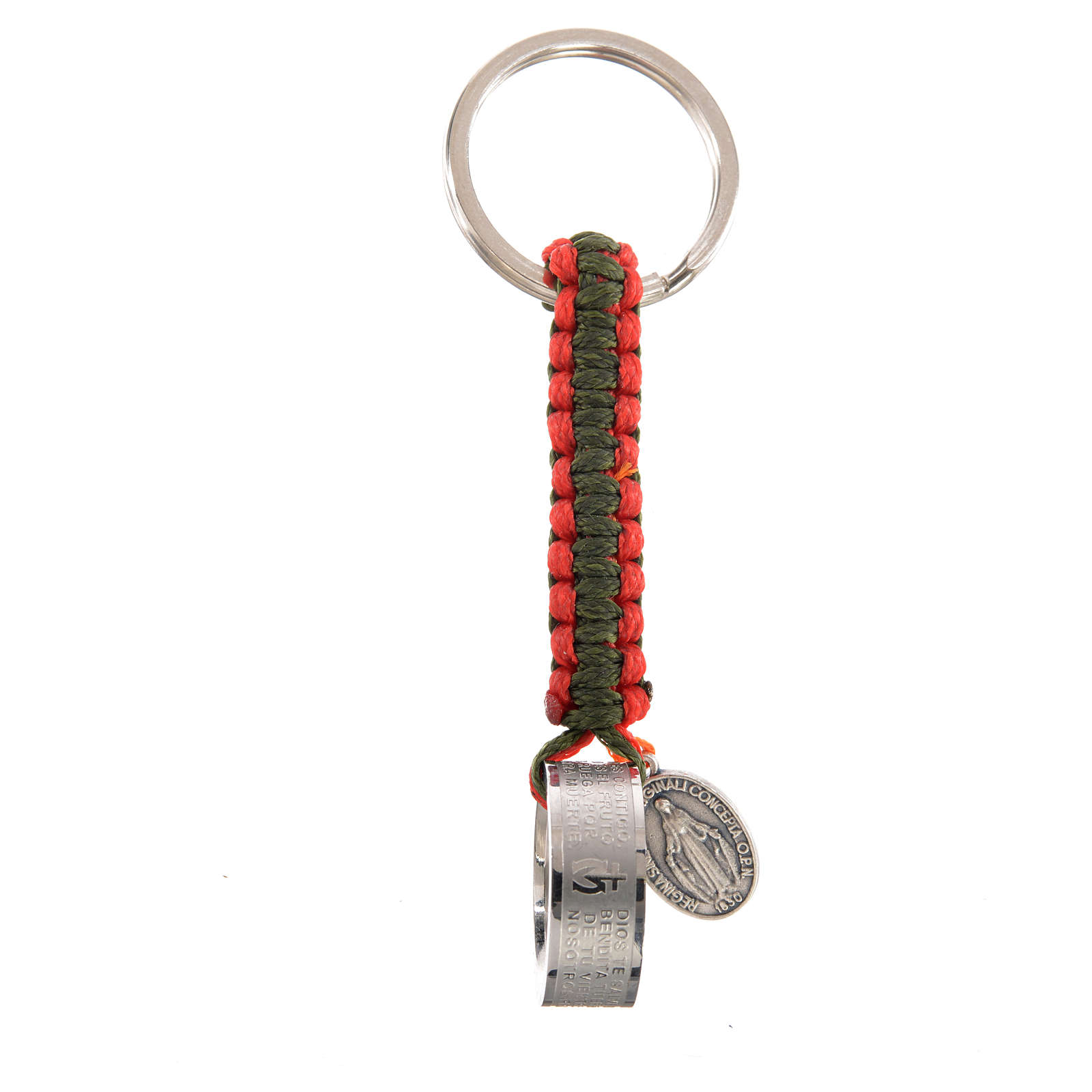 Key chain with Hail Mary prayer in Spanish, red and green cord 3