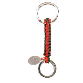 Key chain with Hail Mary prayer in Spanish, red and green cord s2