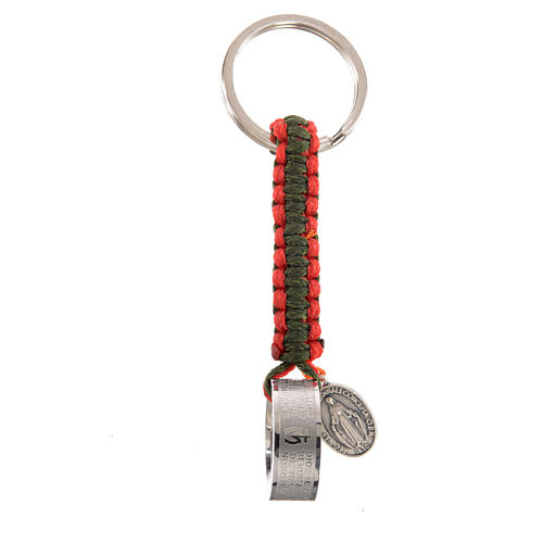 Key chain with Hail Mary prayer in Spanish, red and green cord 1