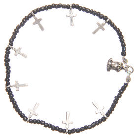 Bracelet with crosses and black beads s2