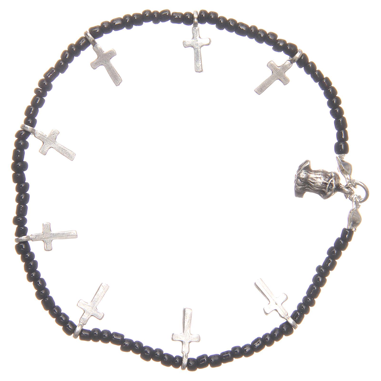 Bracciale croci perline nere 4