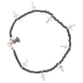 Bracciale croci perline nere s1