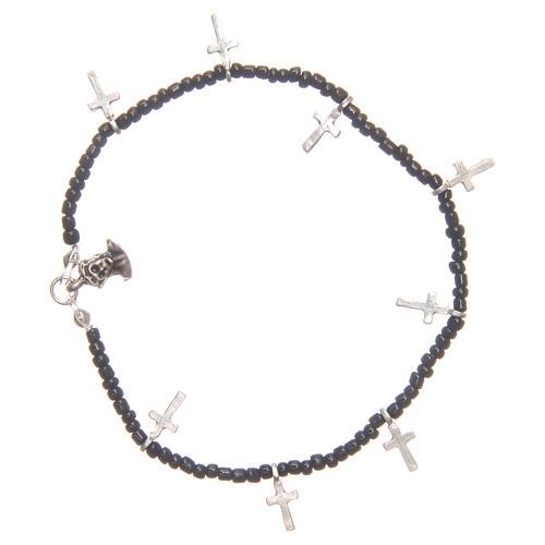 Bracciale croci perline nere 1