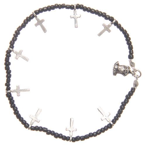 Bracciale croci perline nere 2