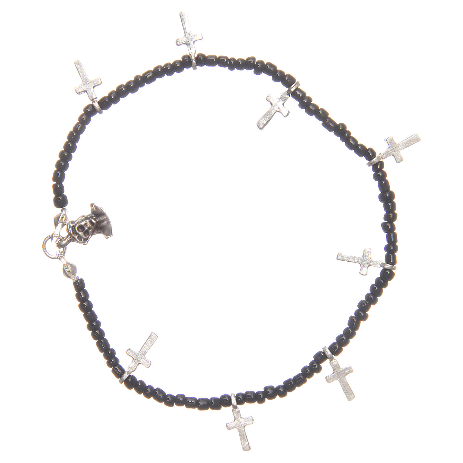 Bracelet with crosses and black beads 4