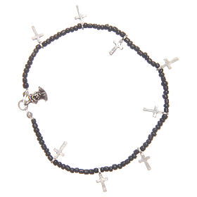 Bracelet with crosses and black beads s1